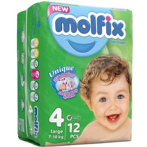 پوشک مولفیکس سایز4 مخصوص کودکان 7 تا 18 کیلوگرم 12 عددی
