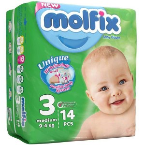 پوشک مولفیکس سایز3 مخصوص کودکان 4 تا 9 کیلوگرم 14 عددی