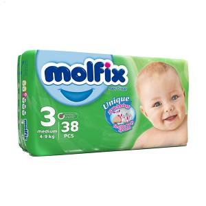 پوشک مولفیکس سایز 3 مخصوص کودکان 4 تا 9 کیلوگرم 38 عددی