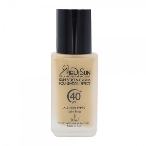 ضد آفتاب کرم پودری بژ روشن شماره 1 شیشهای انواع پوست SPF40 مدیسان 30 میلی لیتر