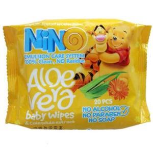 دستمال مرطوب کودک پاکتی زرد نینو  20 عددی