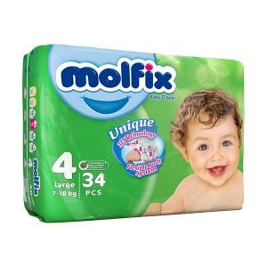 پوشک مولفیکس سایز 4 مخصوص کودکان 7 تا18 کیلوگرم 34 عددی