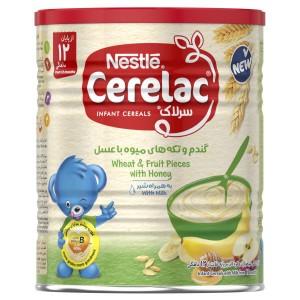 سرلاک گندم و تکه های میوه با عسل به همراه شیر نستله مناسب کودکان از ۱۲ ماهگی