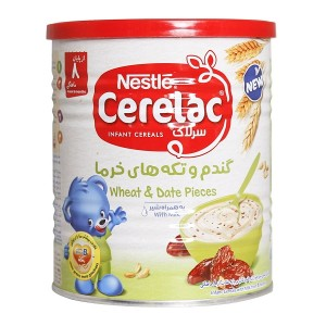 سرلاک گندم و تکه های خرما به همراه شیر نستله مناسب کودکان از پایان ۸ ماهگی