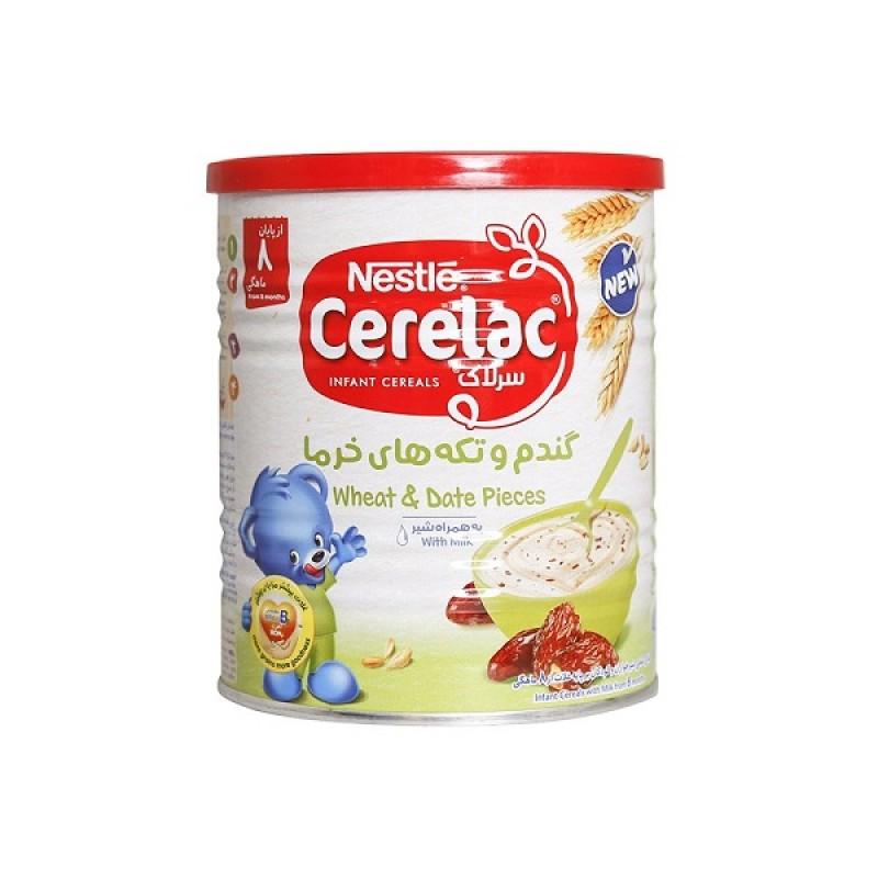 سرلاک گندم و خرما به همراه شیر نستله مناسب کودکان از پایان ۶ ماهگی