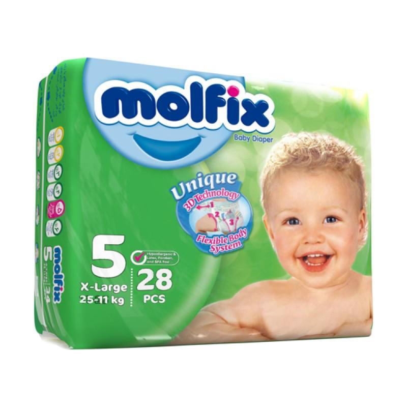 پوشک مولفیکس سایز 5 مخصوص کودکان 11 تا 25 کیلوگرم 28 عددی